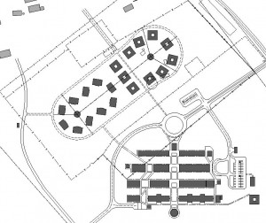Map of ospital campus, including staff accommodation