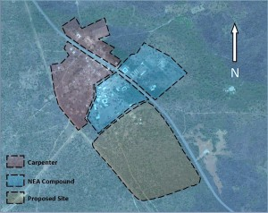 Map of hospital site in relation to NEA compound and Carpenter village